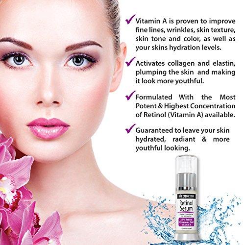 Retinol Serum 2,5% mit Hyaluronsäure Serum & Vitamin E von Derma-nu - beste Antialterung Serum für feine Linien und Fältchen - klinisch bewährte Haut Behandlung für das Gesicht - Garantiert 100% - 1,25oz Flasche -
