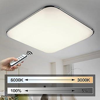 NatsenR 54W Moderne LED Deckenleuchten Wohnzimmer Deckenlampe Fernbedienung Voll Dimmbar Lampe 650mm650mm Amazonde Beleuchtung