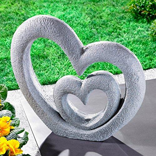 """Skulptur \""""Herzen\"""", Deko-Figur aus Kunststein, Garten-Deko, Liebe und Erinnerung, zwei Herzen ineinander, wetterbeständig, grau"""