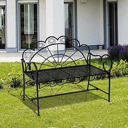 Outsunny – Panchina da Giardino Biposto Stile Classico in Ferro 113 x 56.5 x 90.5cm, Nero