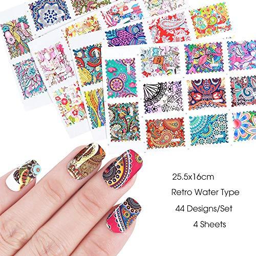 44 Stück Wasser Aufkleber bunte Retro künstlerische Druck Decals Slider auf Nail Art Decor Tattoos DIY Maniküre Folien -