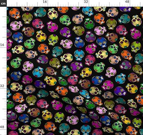 Tot, Halloween, Sugar Skulls, Calaveras, Totenkopf, Tag Der Toten, Traditionell Stoffe - Individuell Bedruckt von Spoonflower - Design von Thirdhalfstudios Gedruckt auf Bio Musselin