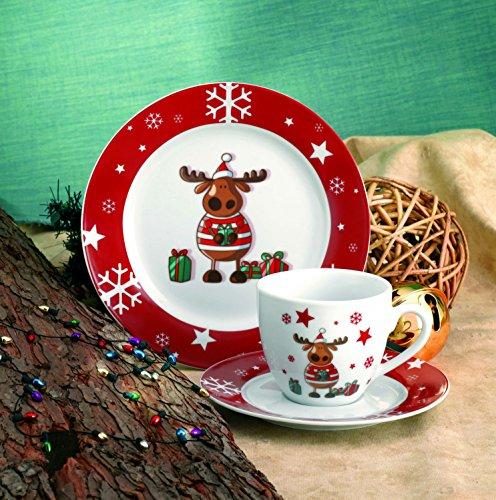 flirt geschirr weihnachten Kaffeeservice Elch 36tlg. für 12 Personen weiß mit Weihnachtsdekor lustiger Elch