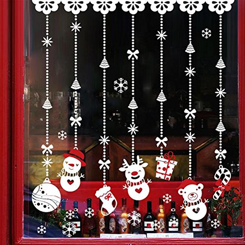 About1988 Weihnachten Aufkleber, Weihnachten Schnee Ball Dekoration Aufkleber für Vitrine Fensterdeko Set Selbstklebend Abnehmbare PVC Winter Dekoration 60 * 90cm (Weiß)