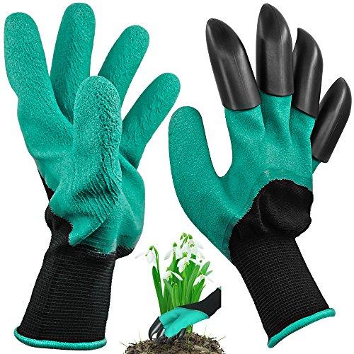 Garden Genie-Handschuhe mit 4 Fingerspitzen, Maxin Laborer Garden Claw Handschuhe richtige Hand für das Graben und Pflanzen. GrEen)
