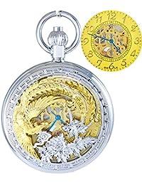 Ogle impermeable oro Phoenix colgante collar cadena llavero color blanco self bobinado automático esqueleto mecánico reloj de bolsillo, esfera de color oro
