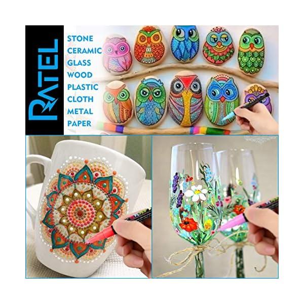 RATEL Pennarelli a Vernice acrilica, 18 Colori Premio Impermeabile Pittura Arte Pennarello Set Vernice Permanente… 4 spesavip