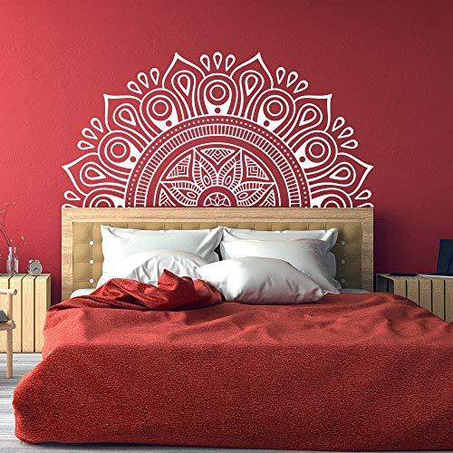 Kunst Halbe Mandala Kopfteil Wandtattoo Lotus Mandala Dekorative Applique Vinyl Schlafzimmer Indische Yoga Aufkleber Böhmischen Stil A2 114x57 CM -