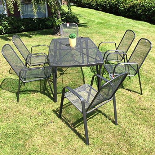 Gartenmöbel Set 7-tlg aus pflegeleichtem Metall - 1 Gartentisch und 6 stabile Hochlehner Gartenstühle