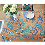 Hyun times Mediterráneo estilo del papel pintado de la textura de la marina de algodón gruesa tela cubierta hipocampo tabla de estrellas de mar ( Tamaño : 100*145 )