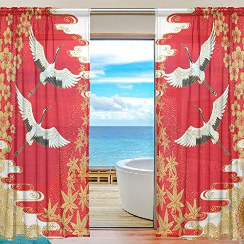 SEULIFE Fenster Sheer Vorhang, Japan Japanische Kraniche Blume Kirsche Voile Vorhang Drapes für Tür Küche Wohnzimmer Schlafzimmer 139,7x 198,1cm 2Felder 55
