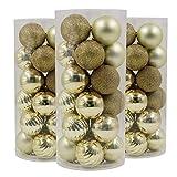 Valery Madelyn 24tlg.6cm Elegant Gold Bruchsicher Kugel Dekorationen Baumkugeln für Urlaub Hochzeit Deko