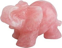 mookaitedecor Natural Rose Quartz Elephant Ornament Figurine,Healing Crystal Energy Gemstone Reiki Statue Home Decor,1.5...