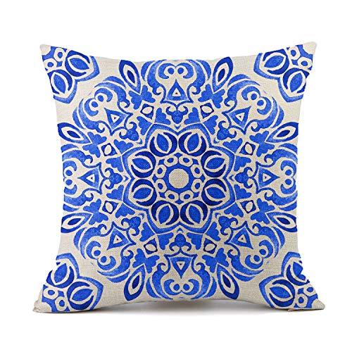 Vioaplem Blaues und Weißes Porzellan Muster Kissenhüllen Baumwolle Leinen Wurf Kissenbezug zum Couch Sofa Schlafzimmer Zuhause 45x45 cm - Couch Blau Muster