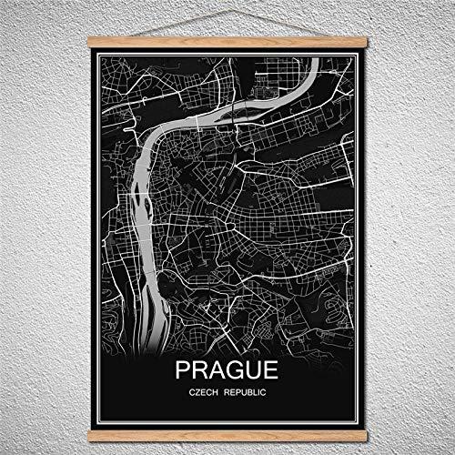 TIANLIANG Welt Stadtplan Leinwand Muster Moderne Poster Abstrakte Bild Drucken Öl Gemälde Mit Rahmen, Prag, 42 X 30 cm Mit Rahmen