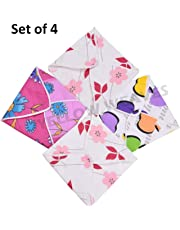 Yellow Weaves™ Cotton Roti Cover/Chapati Cover/Traditional Roti Rumals (Assorted Color & Designs) - Set of 4