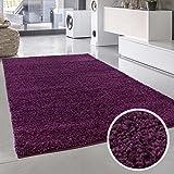 Shaggy-Teppich, Flauschiger Hochflor Wohn-Teppich, Einfarbig/ Uni in Lila für Wohnzimmer, Schlafzimmmer, Kinderzimmer, Esszimmer, Größe: 120 x 170 cm