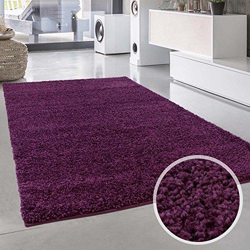 Shaggy-Teppich, Flauschiger Hochflor Wohn-Teppich, Einfarbig/ Uni in Lila für Wohnzimmer, Schlafzimmmer, Kinderzimmer, Esszimmer, Größe: 150 x 150 cm Quadratisch