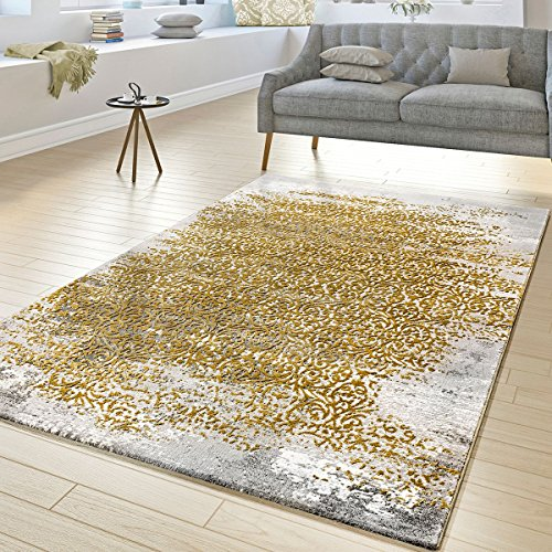 T&T Design Designer Teppich Wohnzimmer Kurzflor Teppich Florale Ornamente Grau Gold Gelb, Größe:200x290 cm -