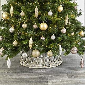 URBNLIVING – Faldas de Mimbre para árbol de Navidad (26 x 50 x 50 cm), Color Blanco