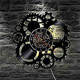 YUN Clock@ Wanduhr Aus Vinyl Schallplattenuhr Upcycling LED Mechanisch AusrüStung Familien Dekoration 3D Design-Uhr Wohnzimmer Schlafzimmer Restaurant Wand-Deko Schwarz/Durchmesser 30 cm