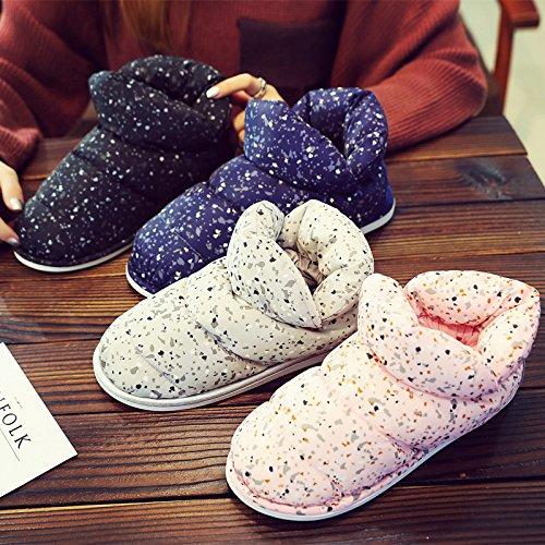 Inverno fankou cotone femmina pantofole home Cartoon carino coperta spessa caldo gli uomini maglione con coppia di peluche Marineblau