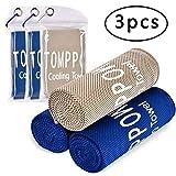 Tomppow 3PCS Kühltuch Cool Handtuch FitnessKühlendes Handtuch,Sofort Kaltes Handtuch,Schnell Trocknend Kaltes EIS Handtuch,100cmX30cm für Fitness Yoga Camping Wandern (3pack:2Dunkelblau+Grau)