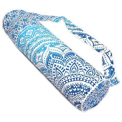 Azul y blanco hecho a mano Mandala algodón Yoga Mat Bolsa con correa para el hombro