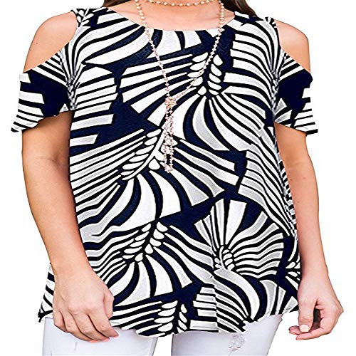 Stil & Co-woman-stretch Gürtel (Damen T-Shirt Rundhals Kurzarm Ladies Sommer Casual Oberteil Locker Bluse Tops,Trägerlos gedrucktr A-4 XXL)