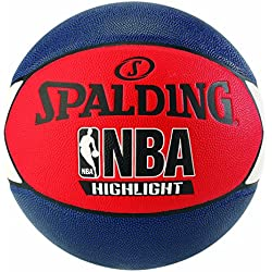 Spalding NBA Highlight Outdoor 83-573Z Balón de Baloncesto, Unisex, Azul Marino/Rojo / Blanco, 7