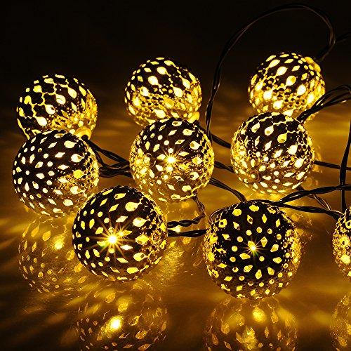 VicTop Solar Powered luci stringa esterne sfera d'argento 20 luci a LED per esterno festa giardino con patio di Natale (bianco caldo) ¡