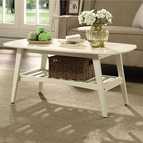 MEIDUO Tables Table Basse Table d'Appoint Rectangulaire Salon Noyer L100CM Milky L * W55CM * H45CM Bureau d'ordinateur (Couleur : Milky)