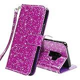 K&L LK Hülle für Galaxy S9 Plus, Luxus PU Leder Brieftasche Flip Case Cover Schütz Hülle Abdeckung Ledertasche für Samsung Galaxy S9 Plus (Bling Lila)