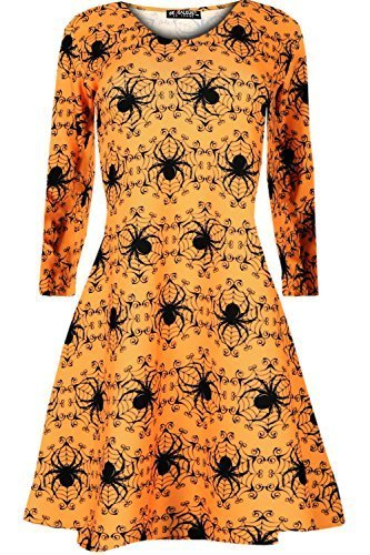 Oops Outlet Langärmliges Damen Halloween Kürbis Spinnennetz Schläger Totenköpfe Ausgestellt Kittel Skater Swing Kleid Top - Spinnen Orange, M/L (40/42) (Halloween Kürbis)