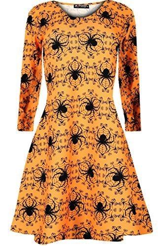 Oops Outlet Langärmliges Damen Halloween Kürbis Spinnennetz Schläger Totenköpfe Ausgestellt Kittel Skater Swing Kleid Top - Spinnen Orange, M/L (40/42)