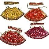 #7: Beautifully Handmade Davi Vastra, Durga ji Vastra, Dress for Idol, Devi Durga MATA Dress, Set of 4 (Yellow, Red, Pink & Orange)
