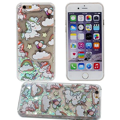 Schutzhülle Apple iPhone 7 Plus 5.5 inch Hülle Case, Bunte Sterne Pulver weißes Pferd Muster Serie Wasser Flüssigkeit Stil Transparent Schwer Hardcase Cover cyan