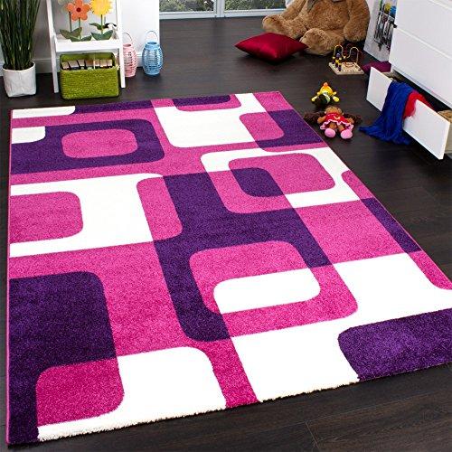 Teppich Kinderzimmer Trendiger Retro Kinderteppich in Pink Lila Creme, Grösse:120x170 cm