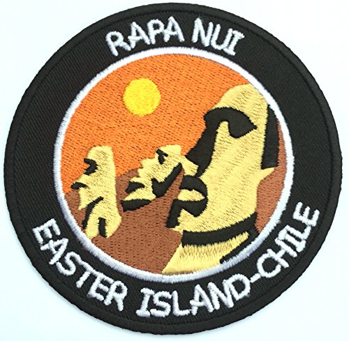Kopf Kostüm Alien Riesen - Moai Rapa Nui Ostern Insel Patch (9cm) bestickt Eisen/Nähen auf Badge Chile Trek Aufnäher Emblem Souvenir