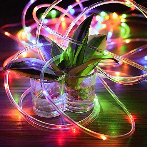12M/ 39ft Solar Lichtschlauch Kupferdraht Wasserdicht Seil Beleuchtung Garten Solar Lichterkette 100 LEDs Auto An/Aus Dekorative Außenlichterkette Für Hausgarten Patio Partys (Bunt) (Seil-beleuchtung 12 Meter)