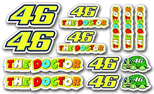 Preisvergleich Produktbild 13stk Small Valentino Rossi 46 The Doctor Aufkleber PVC Sticker SET JDM Auto Bike Car Laptop Helm Rockstar Kralle