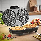 from VonShef VonShef Large Round Waffle Maker  2 Slice Waffle Iron with Non-Stick Coating & Automatic Temperature Control  Compact Design, 1200W