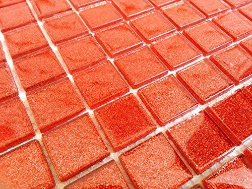 Tessere di mosaico in vetro trasparente matte in arancio rosso
