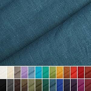holmar tissu en lin au m tre pr lav 20 couleurs bleu fum cuisine maison. Black Bedroom Furniture Sets. Home Design Ideas