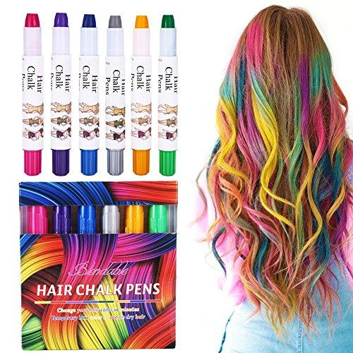 Haarkreide, 6 Farben Tragbare Hair Chalk Temporäre Haarkreide Set für Kinder und Teenager Karneval