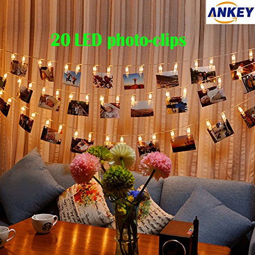 ANKEY Clip cadena de luces LED - 20 LED Foto Peg Clip 2.2M plana Betri batería Bildleuchten LED para la ración decorativos colgantes de fotos, notas, ilustraciones. (blanco cálido)