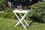 Dreams4Home Stehtablett 'Manaus IV', Beistelltisch, Gartentisch, Tisch, Terrassentisch, Glastisch, Rundtisch, (B/L/H) ca.60 x 40 x 72 cm, Garten, in weiß