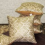 #10: Zikrak Exim Set of 5 Beige Printed Velvet Cushion Covers 30X30 cm (12X12 inches)
