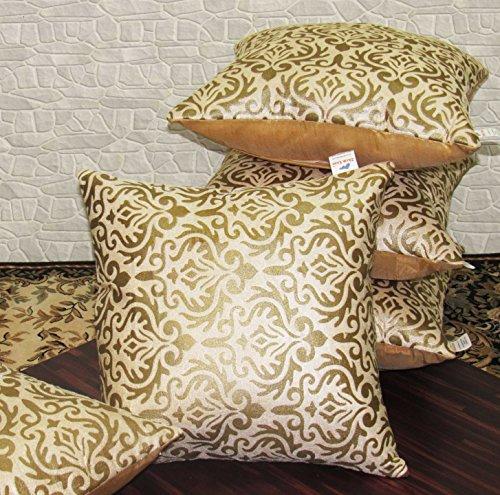 Zikrak Exim Set of 5 Beige Printed Velvet Cushion Covers 30X30 cm...