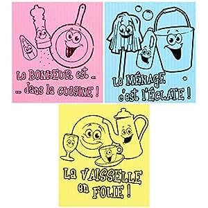Promobo - Lot 3 Lavettes Eponge Vaisselle Ménage Imprimé Fluo Picto
